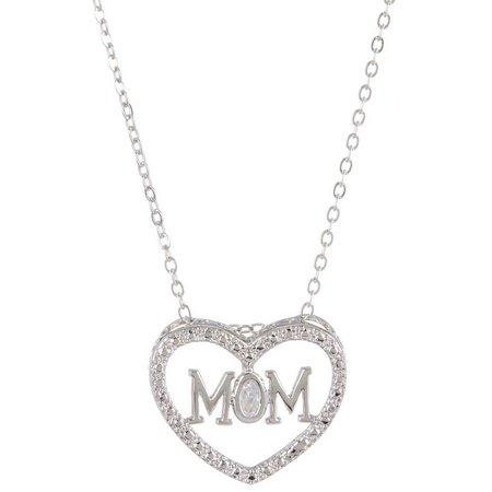 Bay Studio CZ Mom Heart Pendant Necklace