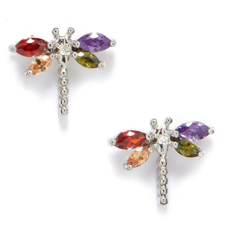 Bay Studio Multi CZ Dragonfly Stud Earrings