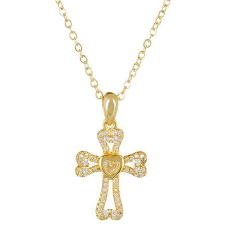 Bay Studio Gold Tone CZ Cross Pendant Necklace