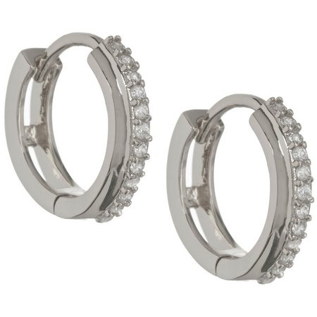 Bay Studio CZ Stones Silver Tone Hoop Earrings