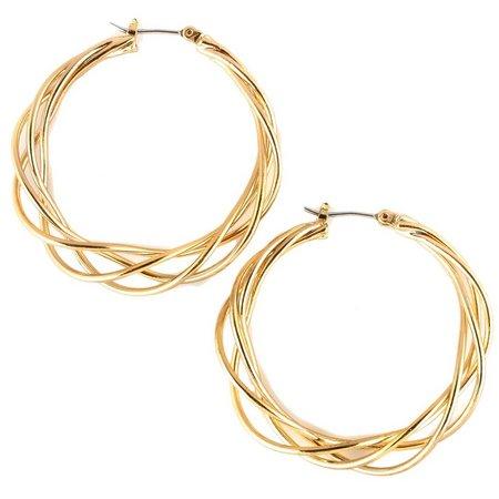 Bay Studio Gold Tone Braided Hoop Earrings