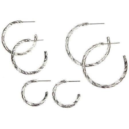 Bay Studio Textured Trio Open Hoop Earrings