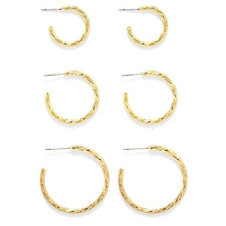Bay Studio Textured Trio Open Hoop Earring Set