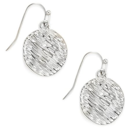 Bay Studio Silver Tone Textured Disc Earrings