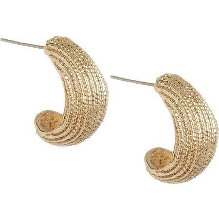 Bay Studio Gold Tone Thick Half Hoop Earrings