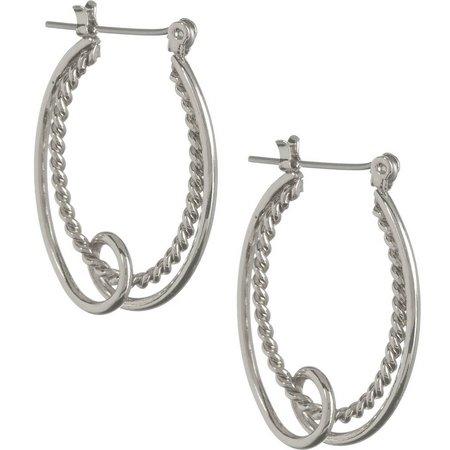 Bay Studio Silver Tone Rope & Loop Earrings