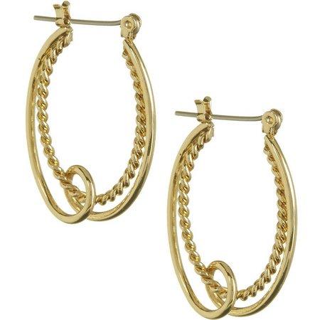 Bay Studio Gold Tone Double Oval Hoop Earrings