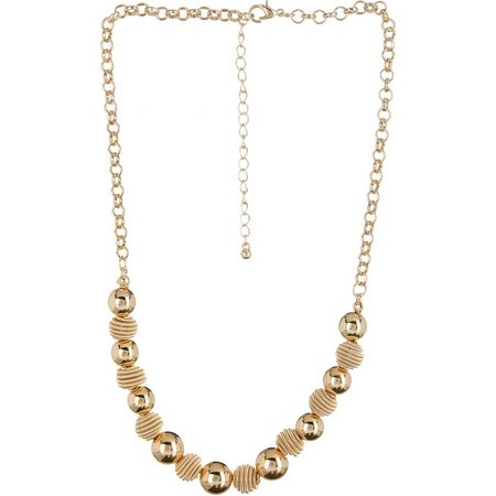 Bay Studio Gold Beehive Ball Frontal Necklace