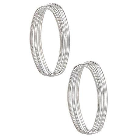 Bay Studio Twisted Silver Tone Oval Post Earrings
