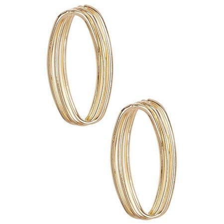 Bay Studio Twisted Gold Tone Oval Post Earrings