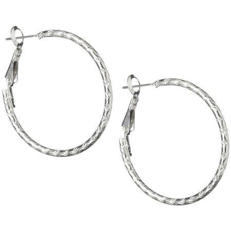 Bay Studio Silver Tone Etched Hoop Earrings