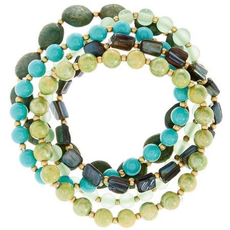 Aris by Treska Green & Blue Beaded Bracelet