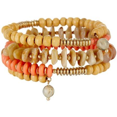 Aris by Treska Coral & Natural Bead Coil