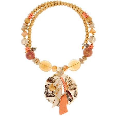 Aris by Treska Coral Multi Bead Coil Necklace