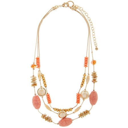 Aris by Treska Coral Beaded Snake Chain Necklace