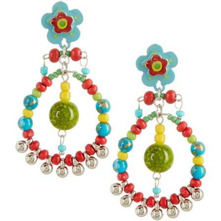 Aris by Treska Tahiti Flower Beaded Hoop Earrings