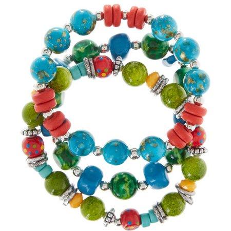 Aris by Treska Tahiti Beaded Stretch Bracelet Set
