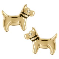 Pet Friends Gold Tone Dog Shaped Earrings