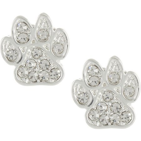 Pet Friends Silver Tone Pave Paw Print Earrings