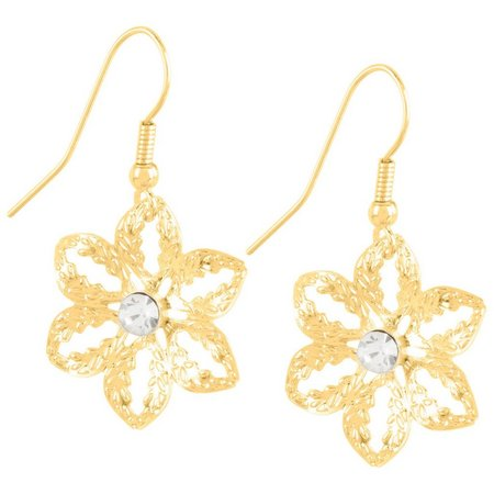 Bay Studio Gold Tone Filigree Flower Earrings