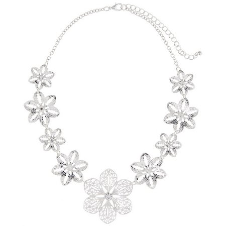 Bay Studio Silver Tone Filigree Flower Necklace