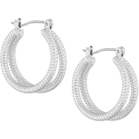 Bay Studio Silver Tone Double Rope Hoop Earrings