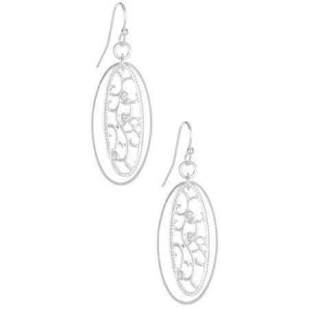 Bay Studio Oval Filigree Silver Tone Drop Earrings