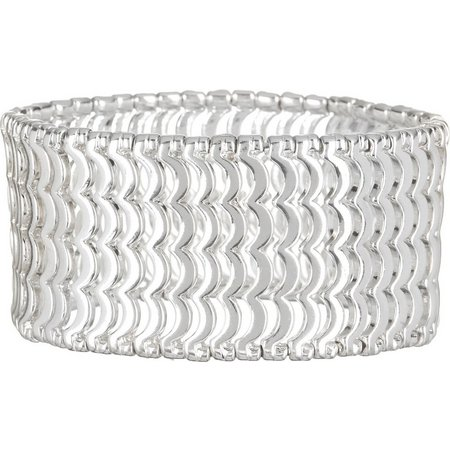 Bay Studio Scallop Silver Tone Stretch Bracelet