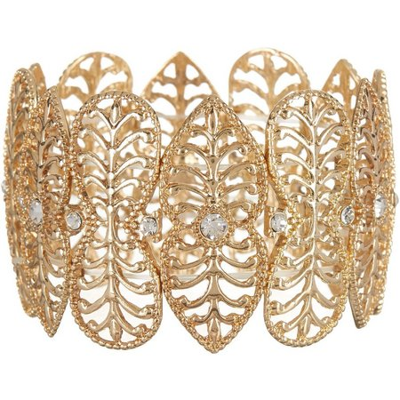 Bay Studio Wide Filigree Gold Tone Bracelet