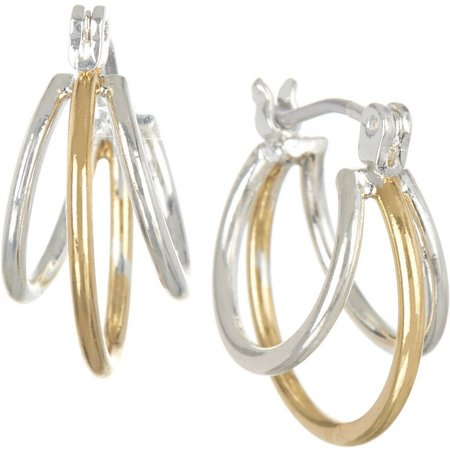 Bay Studio Two Tone Triple Row Hoop Earrings