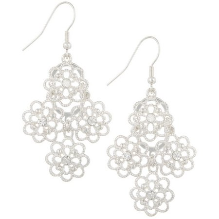 Bay Studio Open Flower Rhinestone Center Earrings