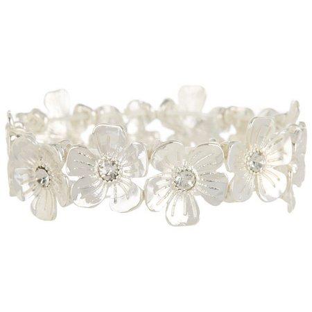 Bay Studio Silver Tone Flower Link Bracelet