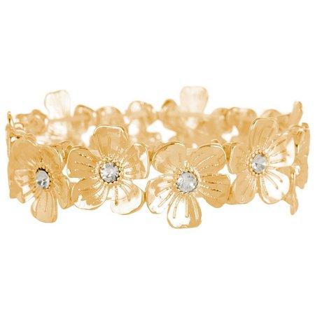 Bay Studio Gold Tone Flower Link Stretch Bracelet