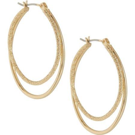 Bay Studio Stardust Gold Tone Double Hoop Earrings