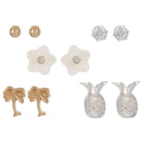 Bay Studio 5-pc. Flower Palm Tree Earring Set