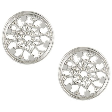 Bay Studio Silver Tone Cut Out Button Earrings