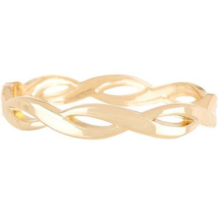 Bay Studio Gold Tone Twisted Hinged Bracelet