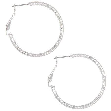 Bay Studio Texture Silver Tone Hoop Earrings