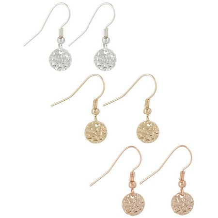 Bay Studio Trio Textured Dangle Discs Earring Set