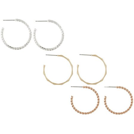 Bay Studio Tri Tone Hoop Earring Set
