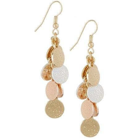 Bay Studio Tri Tone Disc Cluster Dangle Earrings