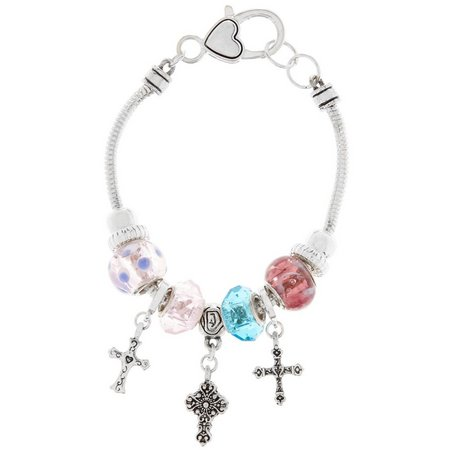 Be Charmed Pastel Glass & Cross Charm Bracelet