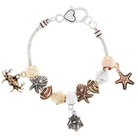 Be Charmed Tri Tone Sealife Charm Bracelet