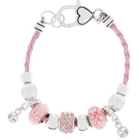 Be Charmed Pink Flower Braided Cord Bracelet