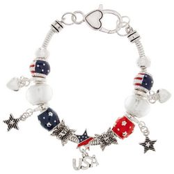 Be Charmed Silver Tone USA Slider Charm Bracelet