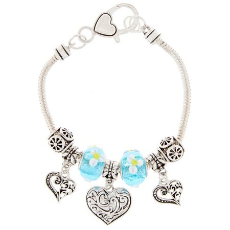 Be Charmed Aqua Blue Beads Heart Charm Bracelet