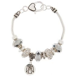 Be Charmed Rhinestone Beads Angel Charm Bracelet