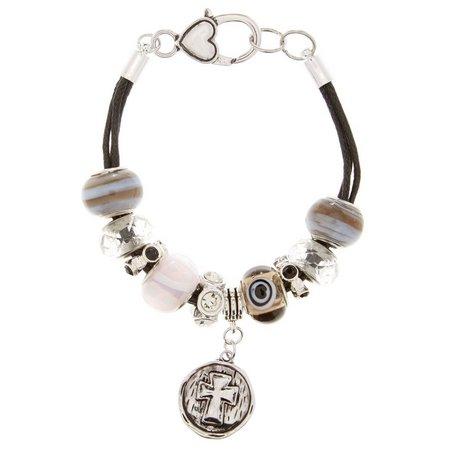 Be Charmed Boxed Cross Black Cord Slider Bracelet