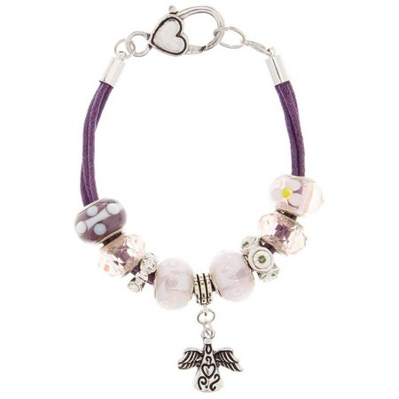 Be Charmed Boxed Angel Charm Cord Slider Bracelet