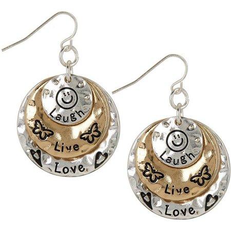 Believe In Two Tone Live Laugh Love Earrings